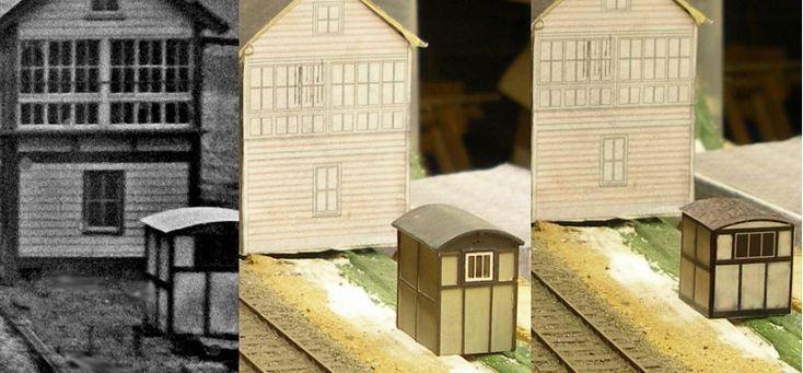 LMS Asbestos - Cement Petroleum (Lamp) hut 4mm scale    Free model railway building kit -   PDF downloadable railway structure kit (card)