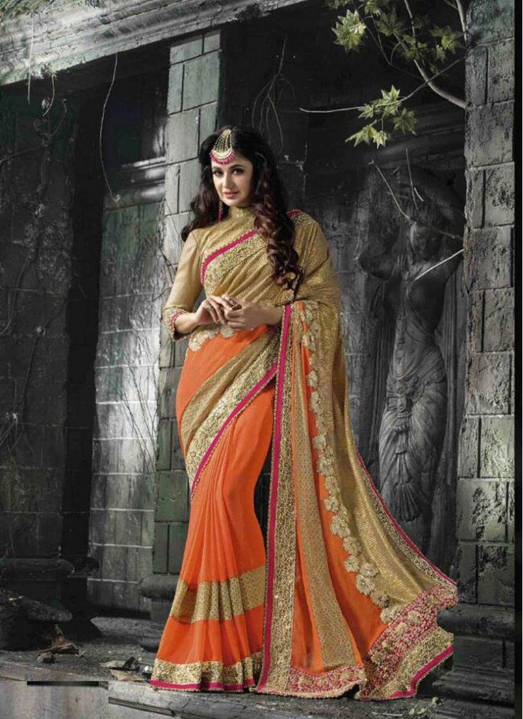 Orange Faux Chiffon Indian Wedding Wear Saree