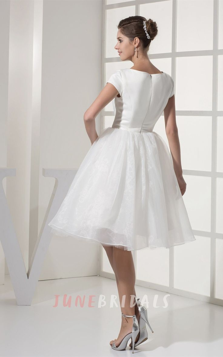 14 best short wedding dresses images on pinterest civil ceremony simple modest ballroom short sleeved white wedding gown in satin and organza ombrellifo Choice Image