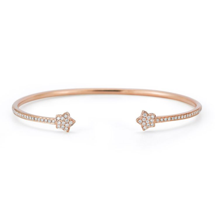 Sylvie Rose Star Cuff Bracelet In 14k Rose Gold With 1 06