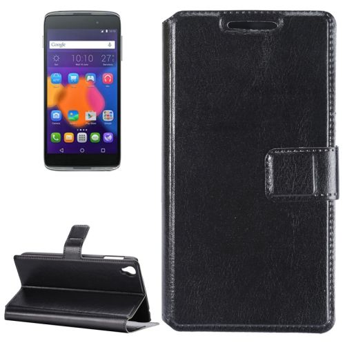 [$1.96] Crazy Horse Texture Horizontal Flip Leather Case with Holder & Card Slots for Alcatel Idol 3 5.5inch(Black)