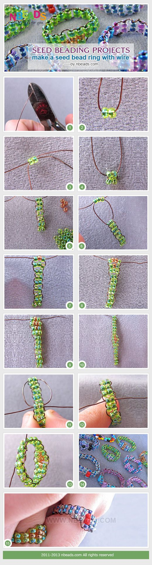 seed beading projects - make a seed bead ring with wire