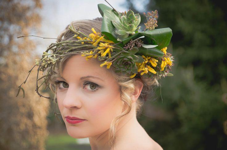 Wild style headdress of kangaroo paw, aspadistra,succulents and birch