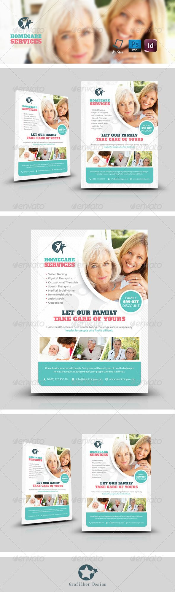 Home Care Flyer Templates, Alzheimer's, aid, banners, bathing, cancer, care, disabled, doctor, dressing, errands, grafilker, grandma, grandpa, health, hospital, incontinence, infirm, life, light housekeeping, meal preparation, medical, medication, nurses, nursing, nursing home, reminders, respite, surgeon, the elderly, therapy