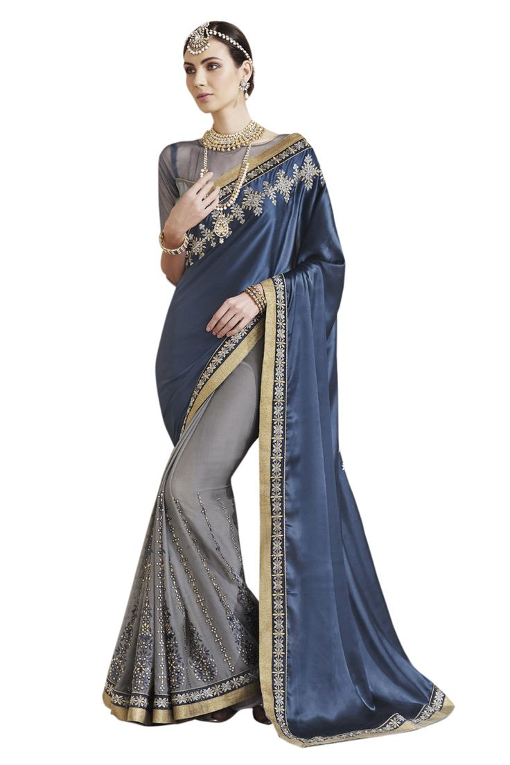 Buy Now Bluish Grey Embroidery Work Chiffon-Satin Half-Half Fancy Saree only at Lalgulal.com. To ‪#‎Order‬ :- http://goo.gl/hzRz8L To Order you Call or ‪#‎Whatsapp‬ us on +91-95121-50402 COD & Free Shipping Available only in India.