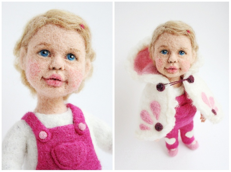Personalized needle felted doll / Free shipping by FforFelt
