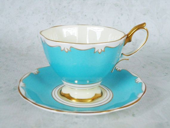 » Vintage Turquoise Teacup and Saucer Set by Royal Albert, Turquoise Blue Tea Cup and Saucer Set
