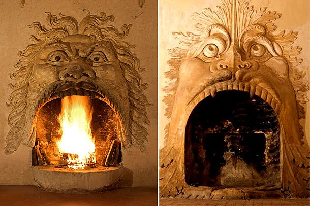 I Mascheroni a Villa della Torre - Fumane  These are working fireplaces that are actually faces - as you can see.