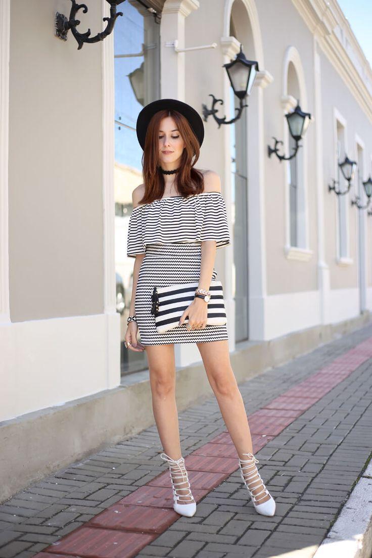FashionCoolture - 25.08.2016 look du jour Slywear ombro a ombro babados listras…
