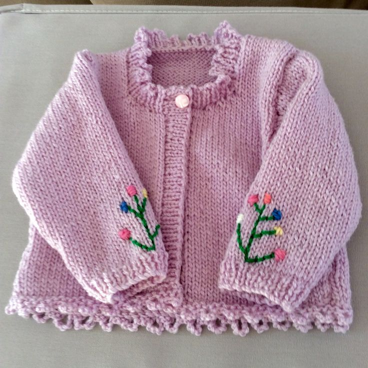 Hand knitted and embroidered girls cardi