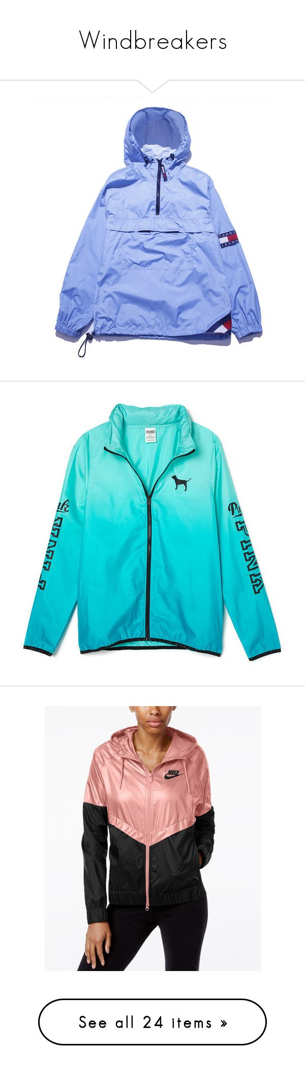 """""""Windbreakers"""" by seanarice ❤ liked on Polyvore featuring outerwear, jackets, tops, blue parka, blue parka jacket, parka jackets, wind breaker jacket, tommy hilfiger, pink and victoria's secret"""