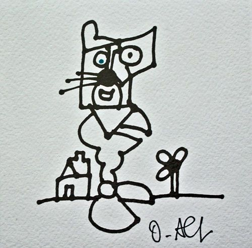 Künstler: Otmar Alt Grafik auf Bütten Unikat, nachträglich vom Künstler handbearbeitet (blauer Punkt im Auge der Katze) Größe: 20 x 20 cm Motiv: 12 x 12 cm Handsigniert.