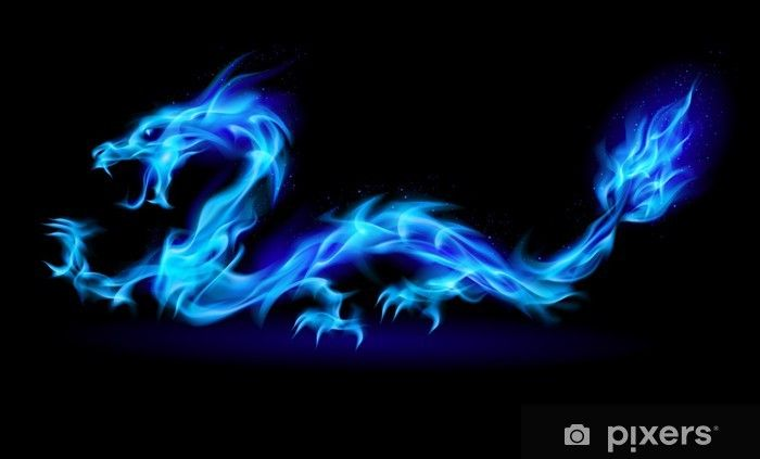 Blue Fire Dragon Wall Mural Pixers We Live To Change Dragon Pictures Fire Dragon Dragon Art