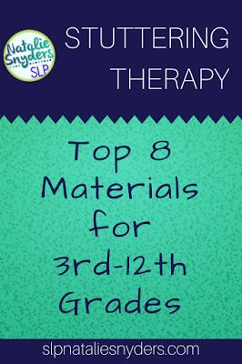 Top Materials for Stuttering Therapy from Natalie Snyders SLP. Pinned by SOS Inc. Resources. Follow all our boards at pinterest.com/sostherapy/ for therapy resources.
