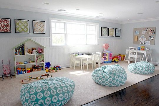 . nursery-and-playroom-inspiration: Playrooms Ideas, Basements Playrooms, Wall Art, Playrooms Design, Plays Rooms, Plays Spaces, Plays Area, Beans Bags Chairs, Kids Rooms