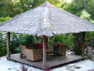 Create a private tropical resort in your own back yard . Ascot's Bali Huts and Gazebosare custom made in Indonesia of treated palm wood. Bali huts, Bali gazebos, thatching roofs, Balinese & gazebos huts.