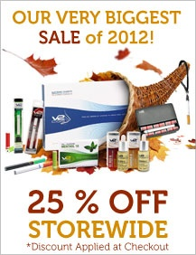 V2 Cigs #BlackFriday Sale is on until Cyber Monday november 26, 2012 - Entire store reduced 25% #coupon SOFLA15 saves you an additional 15% during checkout