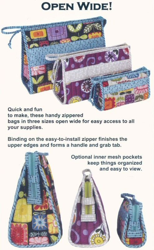 ON SPECIAL...Open Wide! zippered bag sewing pattern by Annie Unrein