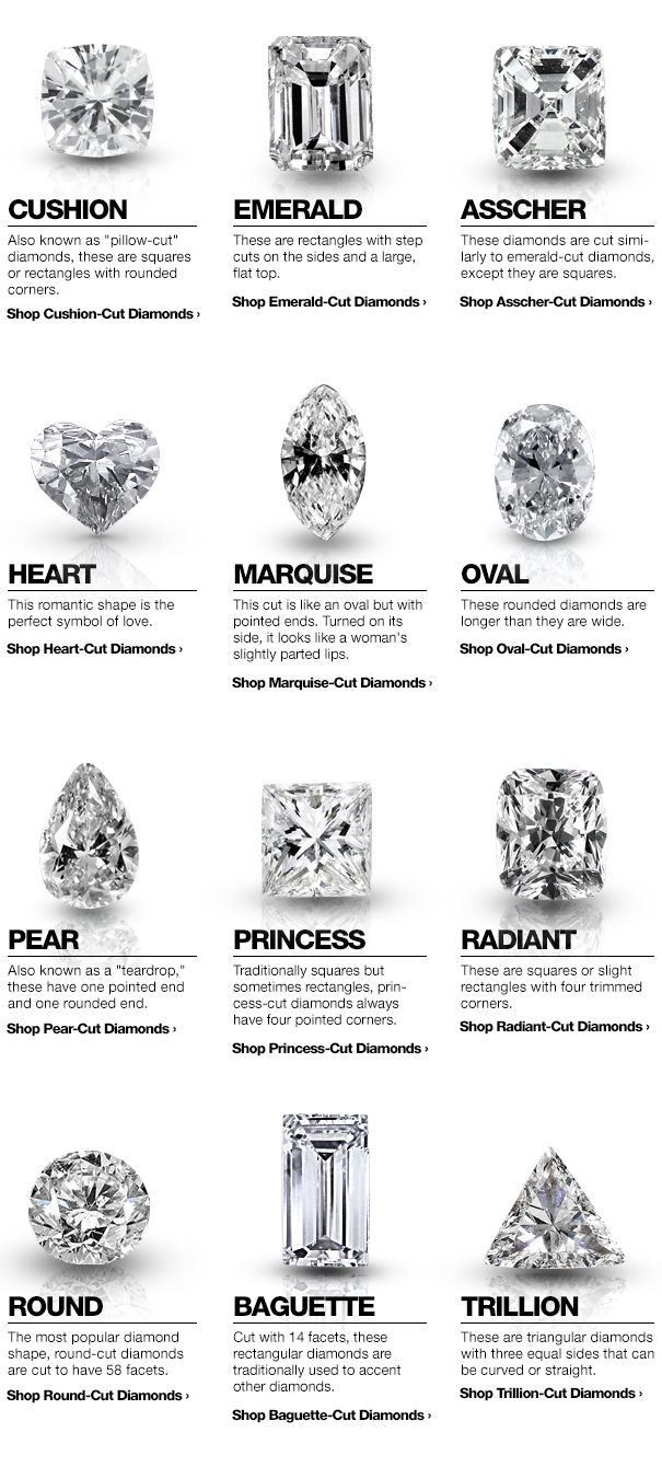 Want to learn more on different diamonds? Head over to overstock.com and read all about how to purchase the right diamond according to their diamond buying guide.    #diamond #rings