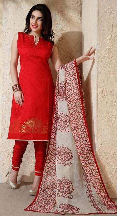 USD 48.74 Red Silk Churidar Salwar Suit 30690