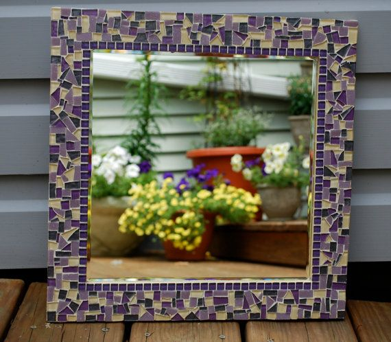 Mosaic Wall Mirror Purples by GreenStreetMosaics on Etsy, $90.00