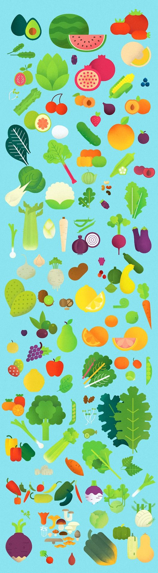 A bunch of produce illustrations for Good Eggs