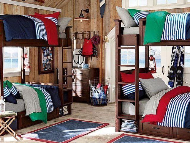 amenagement-chambre-ado-garçon-lits-superposé-commode-literie-bleu-vert-rouge