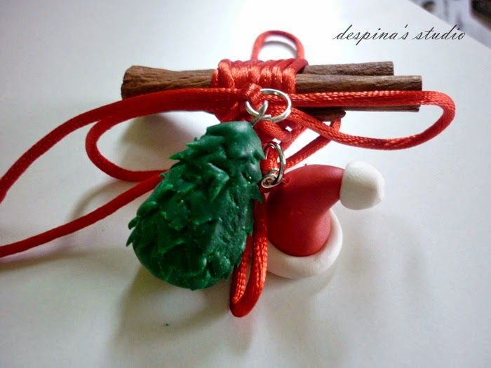 despina's studio: Γούρια από πολυμερικό πηλό για το 2015 polymer clay christmas tree and Santa hat