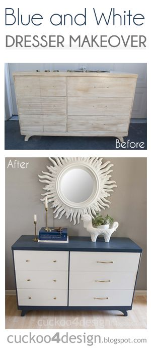 DIY Blue and white dresser makeover by Cuckoo4Design