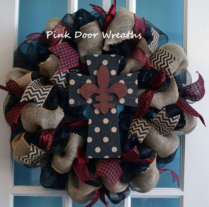 Cross wreath. burlap wreath, mesh wreath, fleur de lis wreath, door wreath, polka dot black red maroon burgundy mesh ribbons Perfect for Year Round hanging Made to Order everyday