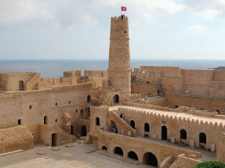 The 8th century Ribat at Monastir, Tunisia, was originally a fortfied Islamic monastery garrisoned by pious warriors. The upper floor to the right of the tower was a prayer hall.