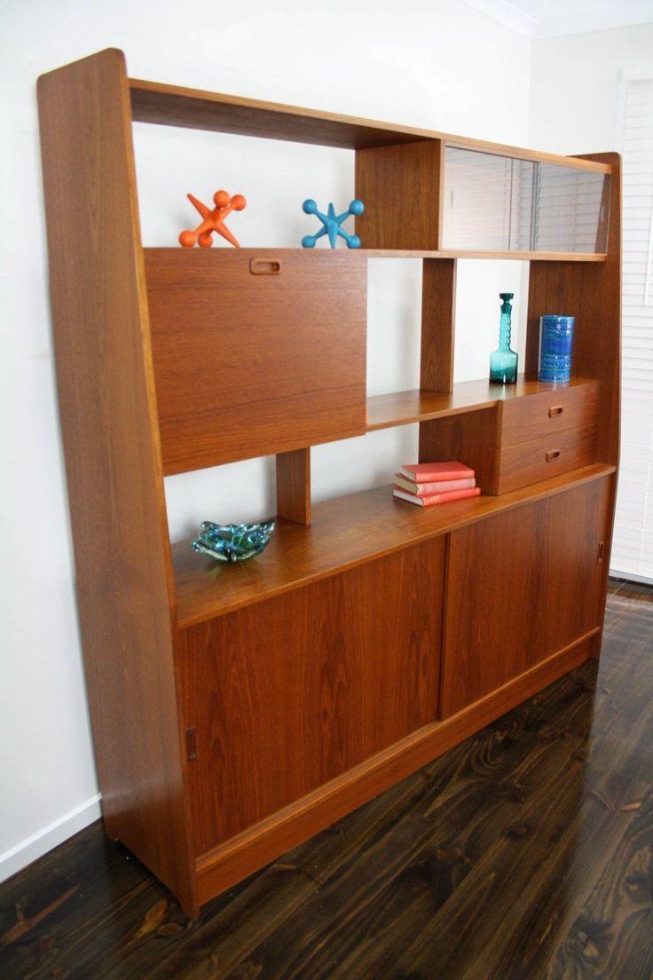 MID Century Teak Room Divider Wall Unit Retro Vintage Sideboard Drinks  Cabinet Danish In 360 Modern