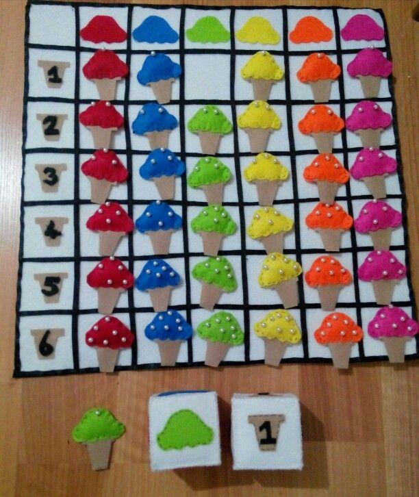 Oyuncağın Adı:  DONDURMA PANOSU Oynandığı Yer:   İsteğe bağlı değişebilir Oyuncu Sayısı:   3-10 Kişi Oyuncu Yaşı:    5-6 Yaş Gelişimsel Özellikler: * Varlıkların özelliklerini söyler. * Varlıkların özelliklerini karşılaştırır. * Dikkatini nesne üzerinde yoğunlaştırır. * Varlıkları sayılarına göre eşleştirir. * Varlıkları renklerine göre eşleştirir. * Varlıkları renklerine göre gruplar. * Varlıkları miktarına göre gruplar. * Nesneleri büyüklüklerine göre sıralar. * Örüntüdeki ilişkiyi kavrar…