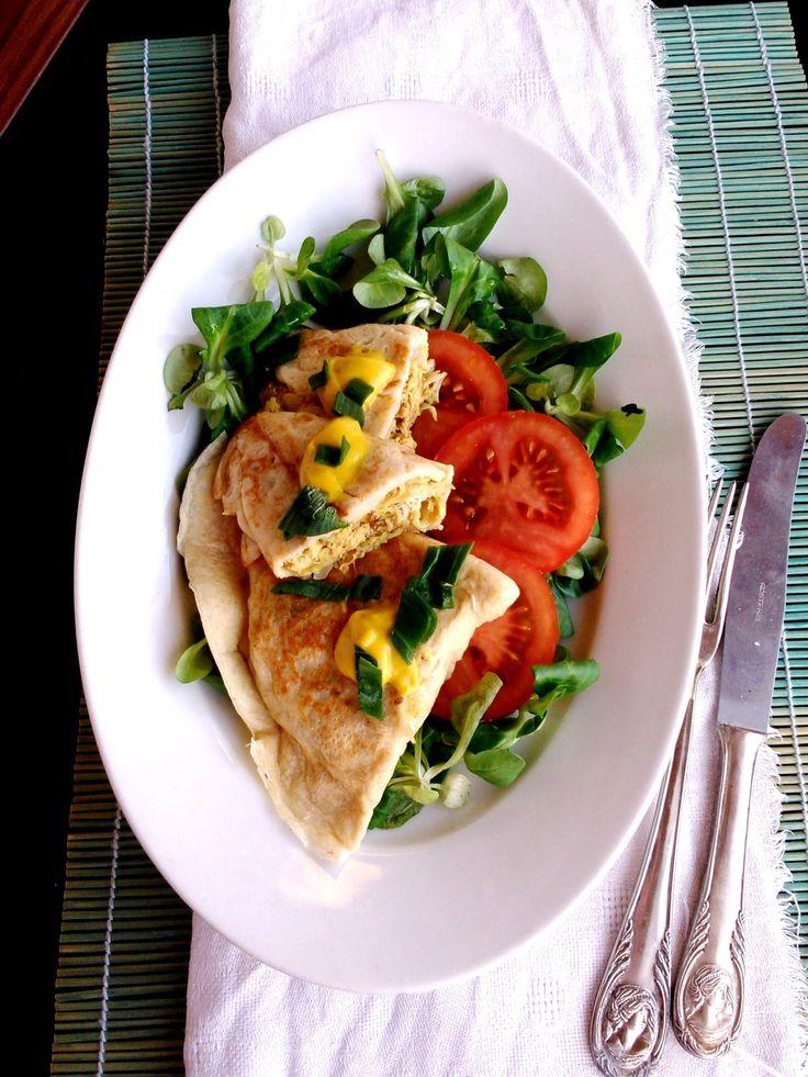 Palacsinta mustáros-újhagymás csirkével töltve / Pancake stuffed with spring onion-chicken with mustard