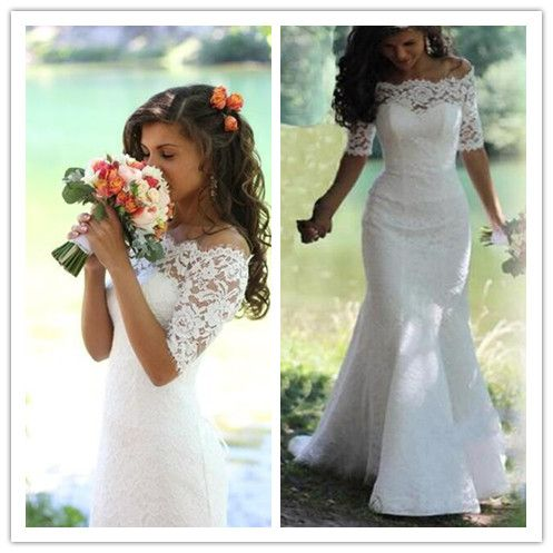 White Wedding Dresses,Half Sleeves Wedding Gown,Lace Wedding Gowns,Mermaid Bridal Dress,Princess Wedding Dress,Beautiful Brides Dress