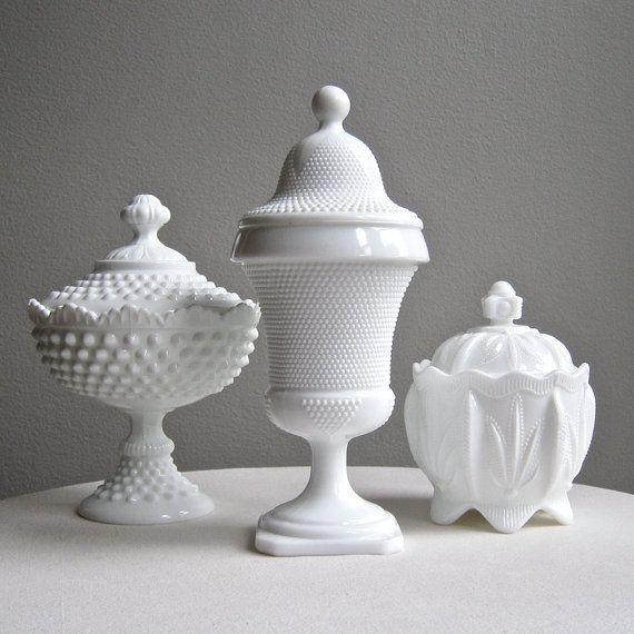 Vintage Milk Glass Apothecary Jar Beaded by BarkingSandsVintage
