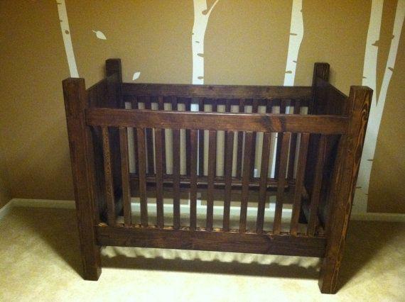 Handmade Rustic Style Solid Wood Crib Dark Stain on Etsy