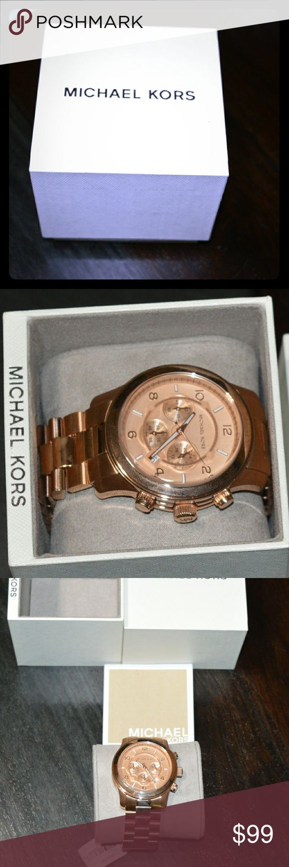 Michael Kors Rose Gold Oversized Watch #MK8096 NEW Brand new, never worn, still in the box!   Model # is MK8096 as depicted.  Please use this model number to find out more info online. Comes with instruction book and has not been sized yet. This means it will look big as you need to remove links to your specifications so it can still be customized to fit anyone. Seems to be popular with both males and females. Oversized is in! Michael Kors Accessories Watches