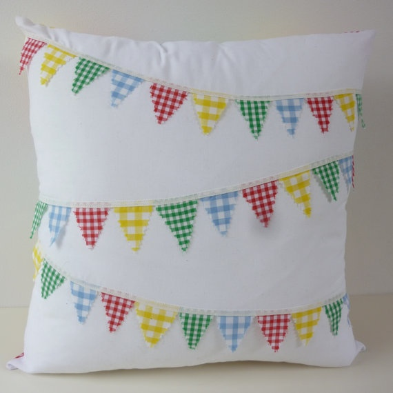 Gingham Bunting and Patchwork  Cushion by GayAbandon on Etsy