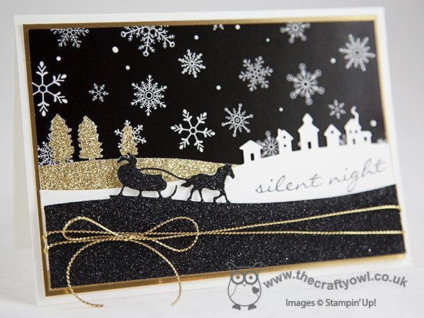 The Crafty Owl | Black Glimmer Sleigh Ride Edgelits Card