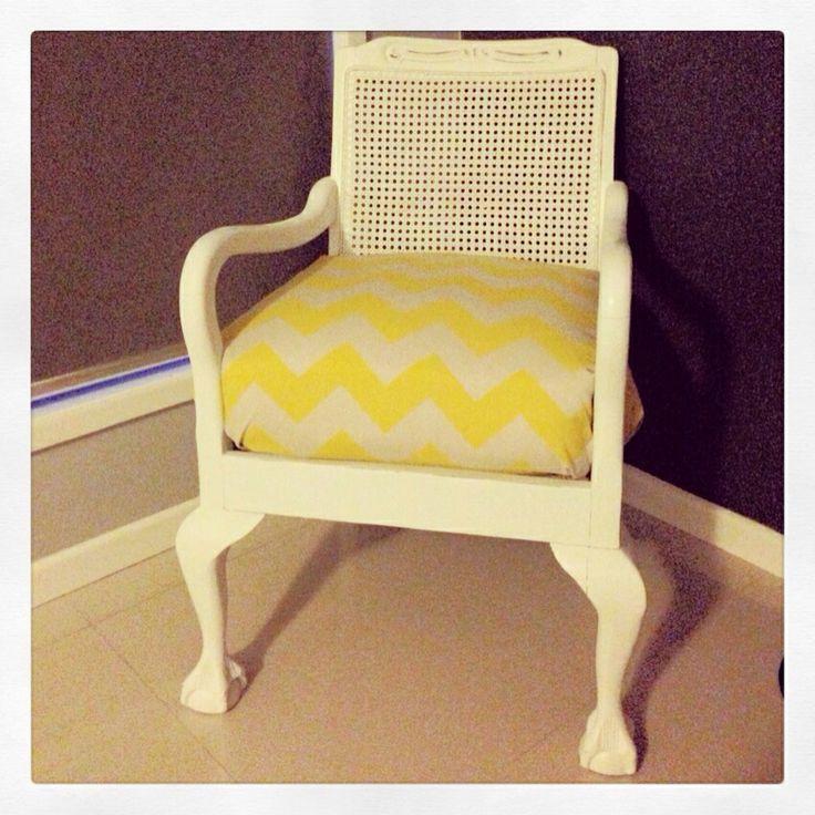 Queen Anne chair redo!! #yellowchevronfun #boughtbacktolife #shabbychic