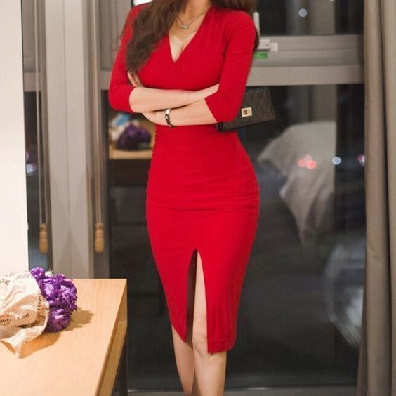 V-Neck Long Sleeves , Red Short Homecoming Dress by RosyProm, $142.49 USD