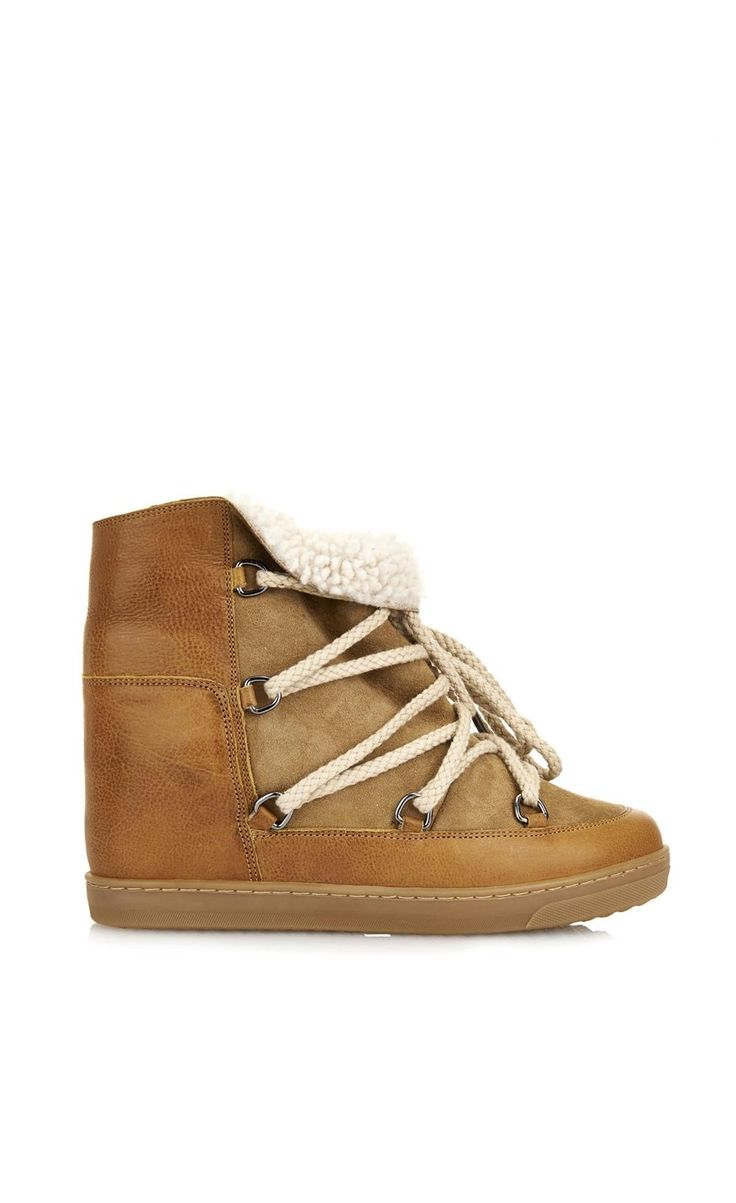Isabel Marant Nowles Shearling-Lined Leather Concealed Wedge Boots Camel - Isabel Marant #IM #NEWSTORE #BOOTS