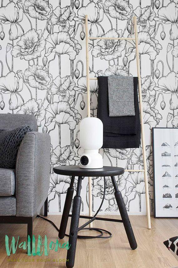 Klaproos patroon behang, verwisselbare Wallpaper, Poppy behang, Poppy muur Sticker, Poppy muur sticker, Poppy patroon zelfklevende behang, 057
