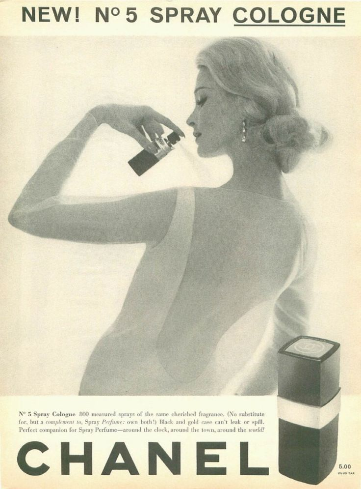 Featuring in this old 1961 advertisement is Chanel No. 5 spray cologne. A stylish black and white ad with a beautiful blonde woman spraying this gorgeous scent. -1961 Chanel No. 5 perfume advertisemen