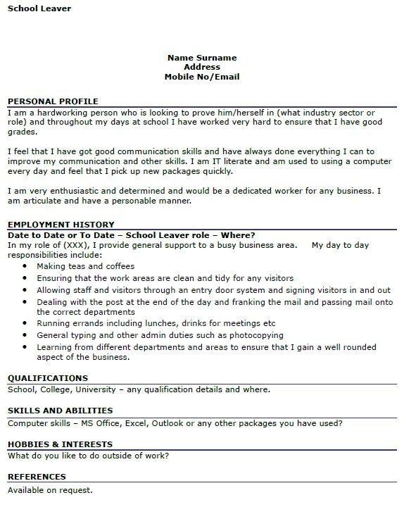 Cv Template School Leaver School Leavers Resume Examples In 2020 School Leavers Resume Examples Cv Template