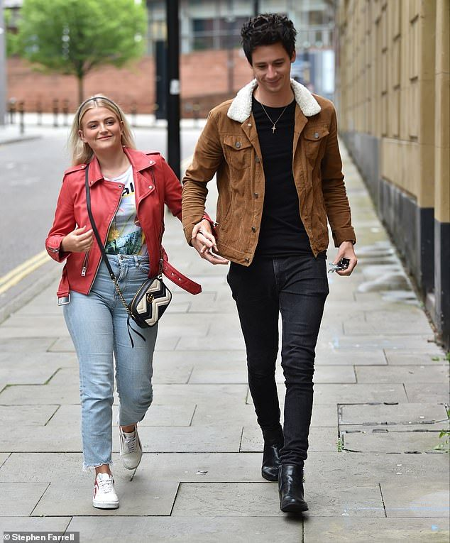 Corrie S Lucy Fallon Is Joined By Boyfriend Tom Leech At Show Print T Shirt Red Jacket Fashion