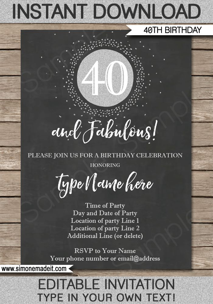 16 best milestone birthday party invitations printables 30th chalkboard 40th birthday invitation template forty and fabulous chalkboard and silver glitter editable stopboris Gallery