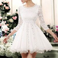 Feminine Charming Floral Embroidered Lace Shirred Bubble Dress - Thumbnail 3