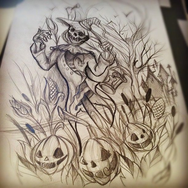 Halloween Sketches Scarecrow Tattoo sketch tattoo